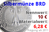 10 Euro Silberm&uuml;nze ab 2011