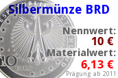 10 Euro Silbermünze ab 2011