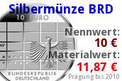 10 Euro Silbermünze bis 2010