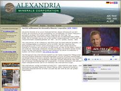 Bildschirmdruck der Internetseite des Goldexplorers Alexandria