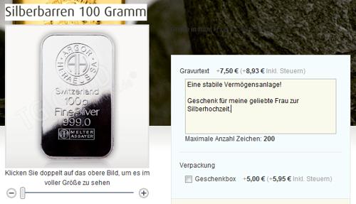 Silberbarren mit Gravur im Online-Shop von TG Gold