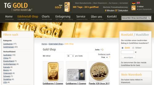 Gold im Internet Kaufen - hier Online-Shop TG Gold