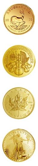4 Goldmünzen aus Anlagegold