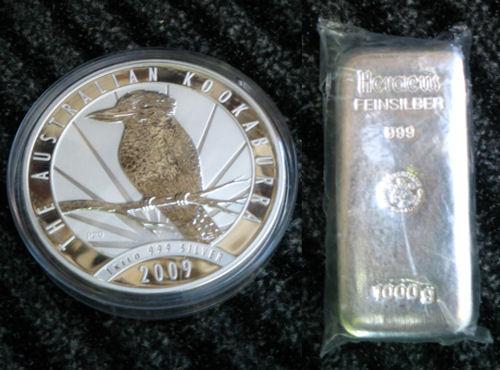 Kilomünze und Barren aus Silber