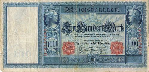Text des Geldscheins: Ein hundert Mark (gemeint ist Münzgeld) zahlt die Reichsbankhauptkasse in Berlin ohne Legitimationsprüfung dem Einliefer dieser Banknote.