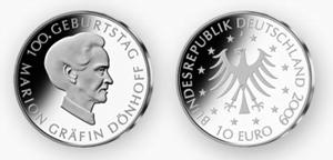"""Am 30.11. erscheint die Gedenkmünze """"100. Geburtstag Marion Gräfin Dönhoff"""" in einer Gesamtauflage von 1.953.000 Stück"""