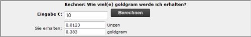 So viel Gold gibt es heute für 10 € · Rechentool von GoldMoney