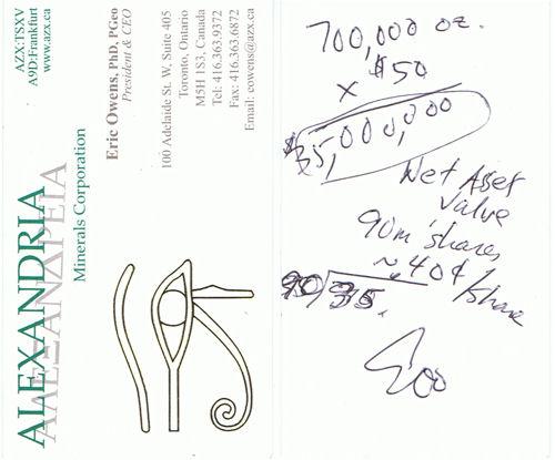 Visitenkarte mit persönlichen Notizen von Alexandria CEO Eric Owens