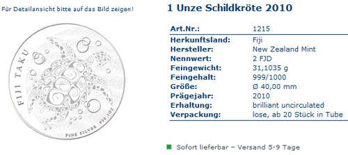 Neue Silbermünze Taku - Schildkröte - im Online-Shop von Silberling