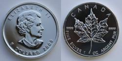 Vorder- und Rückseite der Silbermünze Maple Leaf