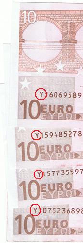 Y Euro Scheine