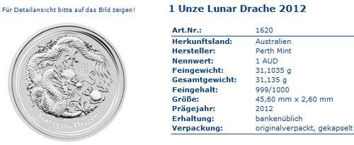 lunar drache in Silber 1 Unze