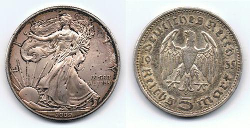 Silbermünzen American Eagle beschädigt + 5 Reichsmark