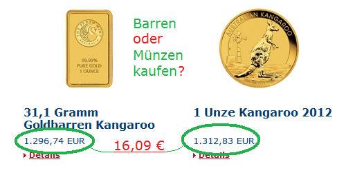 Goldbarren oder Goldmünze kaufen?