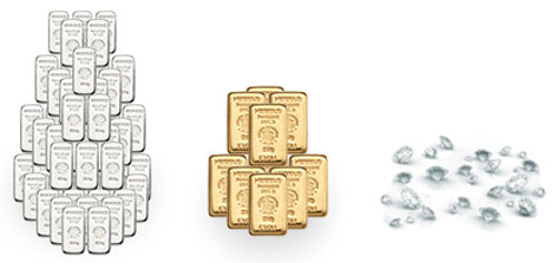 Silber, Gold, Diamanten