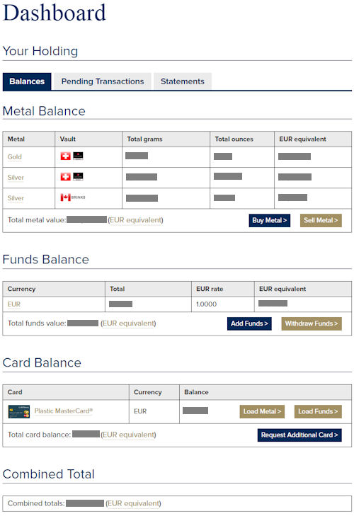 GoldMoney Dashboard
